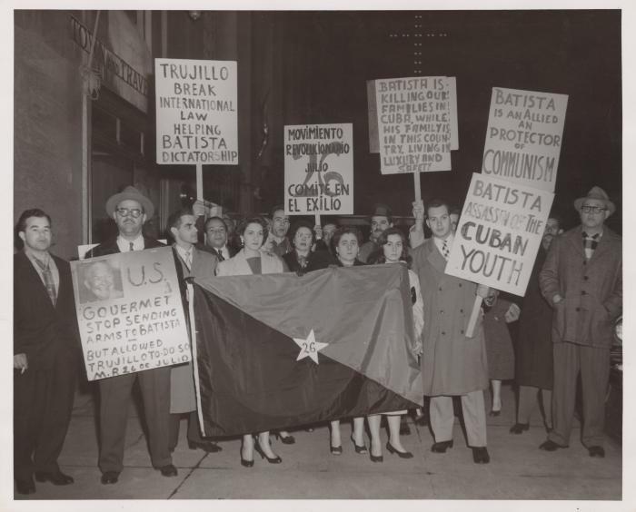 A protest against the Batista and Trujillo's dictatorships