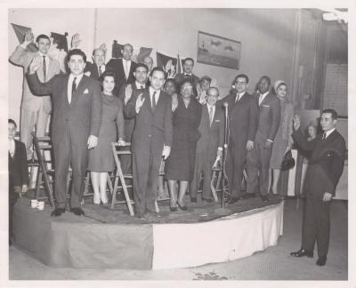 Herman Badillo swearing in the offices of the Robert F. Wagner Association in the Bronx