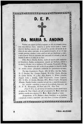Church funeral announcement for Doña Maria Sanchez Andino