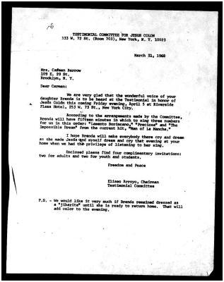 Testimonial Committee for Jesús Colón correspondence