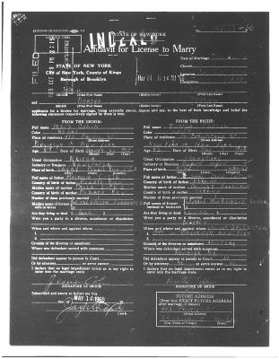 Affidavit for License to Marriage for Jesús Colón and Clara Colón