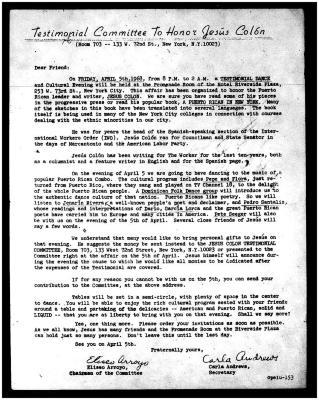 Testimonial Committee to Honor Jesús Colón
