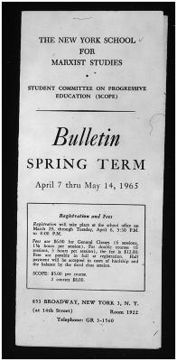 New York School for Marxist Studies - Bulletin Spring Term