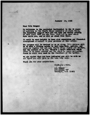 Pete Seeger correspondence