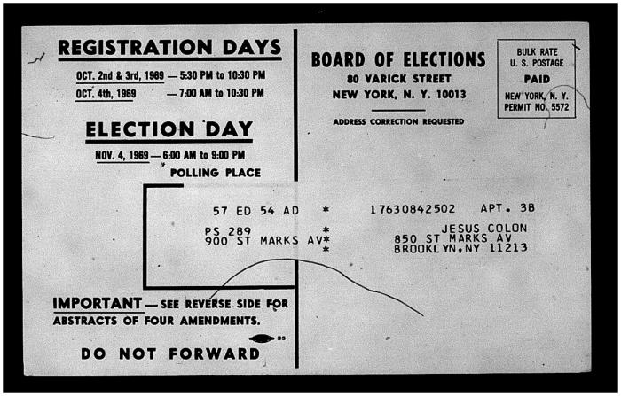 Board of Elections postcard