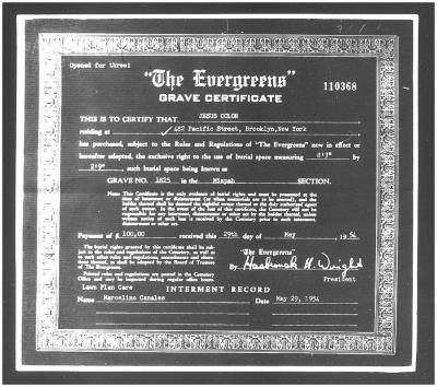 Grave Plot Certificate for Jesús Colón