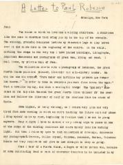 A Letter to Paul Robeson