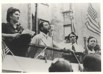 Jesús Colón giving a speech
