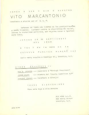 Vito Marcantonio flyer
