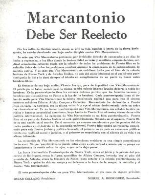 Marcantonio - Debe Ser Reelecto / Marcantonio - Must Be Reelected