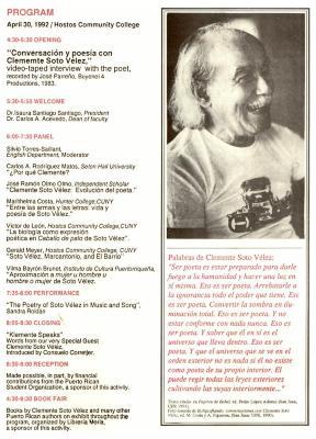 Program in honor of Clemente Soto Velez