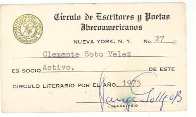 Circulo del Escritores y Poetas Iberoamericanos I.D. Card