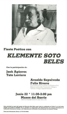 "An invitation to ""Fiesta Poetica"" with Klemente Soto Beles at the Museo del Barrio"