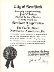 Certificate of Appreciation to the Puerto Rican Merchants Association
