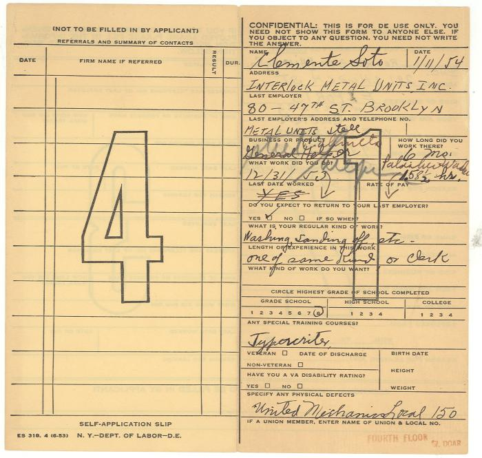 Employment record for Clemente Soto Velez