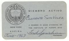 Instituto de Puerto Rico member I.D. Card for Clemente Soto Velez