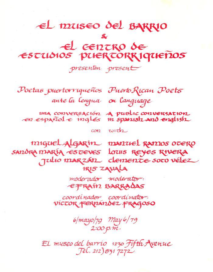 Poetas Puertorriqueños ante la lengua / Puerto Rican Poets on Language