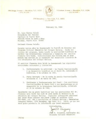 Correspondence to Dr Luis Nieves from Jose A. Irizarry