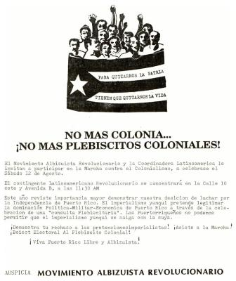 No Mas Colony... No Mas Plebiscitos Coloniales! / No More Colonia ... No More Colonial Plebiscites!