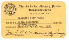 Circulo del Escritores y Poetas Iberoamericanos Honorary I.D. Card