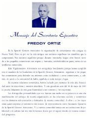 Mensaje del Secretario Ejecutivo - Freddy Ortiz / Message from the Executive Secretary - Freddy Ortiz