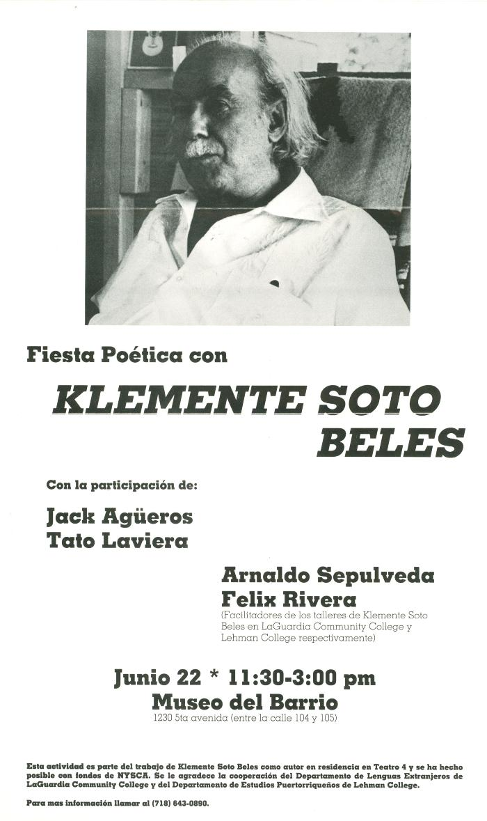 """An invitation to """"Fiesta Poetica"""" with Klemente Soto Beles at the Museo del Barrio"""