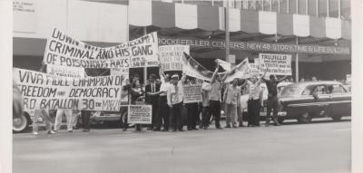 A protest against Dictator Trujillo outside Rockefeller Center