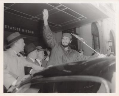 The Cuban President Fidel Castro waving to the public
