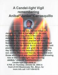 A Candlelight Vigil Remembering Anibal Junior Carrasquillo