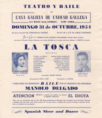 Flyer of Teatro y Baile en Casa Galicia de Unidad Gallega