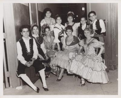 "A group of young people dressed as ""Gallegos"""