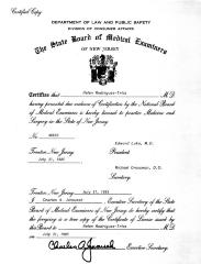 Certificate from The State Board of Medical Examiners of New Jersey to Dr. Helen Rodriguez