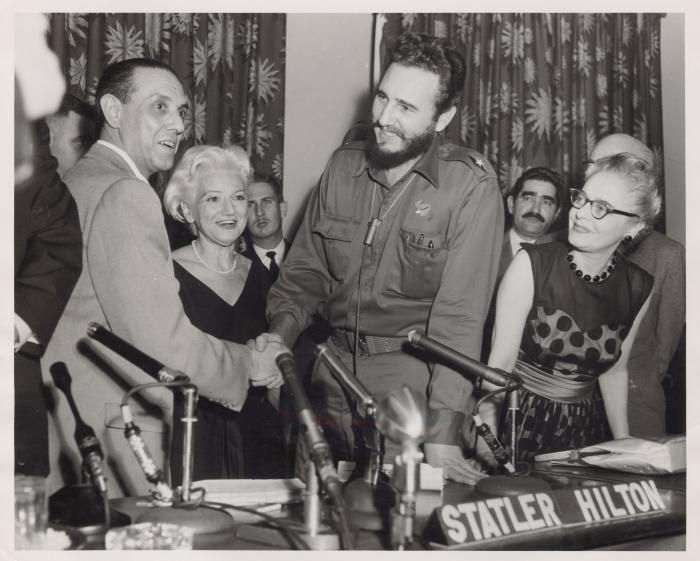 Fidel Castro in a press conference in New York
