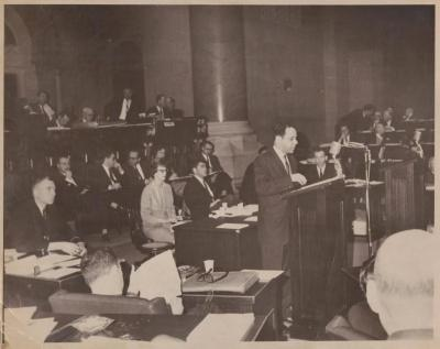 Assemblyman Frank Torres addressing the New York State Assembly