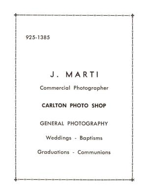 Justo A. Martí advertisement in Anniversary Program