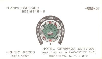 Higinio Reyes, PRMA bussiness card