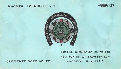 Clemente Soto Vélez, PRMA bussiness card
