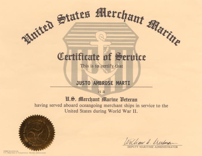 Certificate of Service to Justo Ambrose Martí