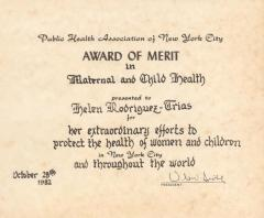 Award of Merit in Maternal and Child Health to Helen Rodriguez-Trias