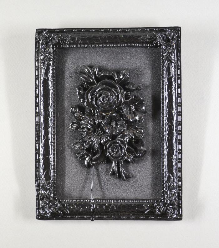 Black Rose (black paint on relief rose)