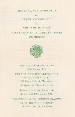 Mexican Independence Day event program