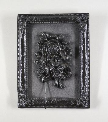 Black Rose (black paint on relief rose)