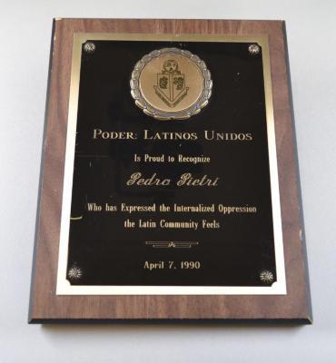 Plaque, Poder Latinos Unidos is Proud to Recognize Pedro Pietri