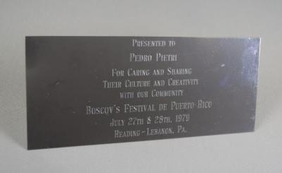 Silver Plaque Presented to Pedro Pietri, Buscov's Festival de Puerto Rico