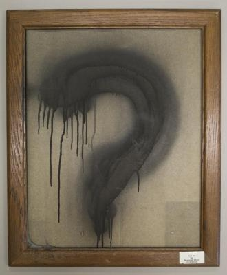 """Dark Art by Reverendo Pietri: ?"" (enamel spray paint on material in frame)"