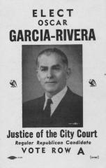 """""""Vote por Oscar García-Rivera para Juez de """"City Court"""""""""""