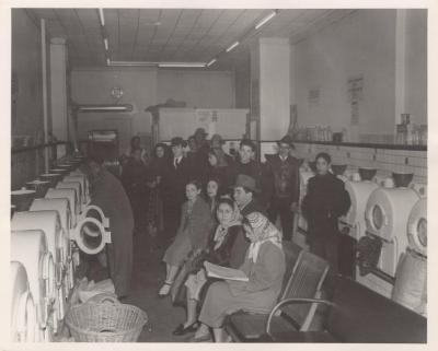 Community residents at a laundromat