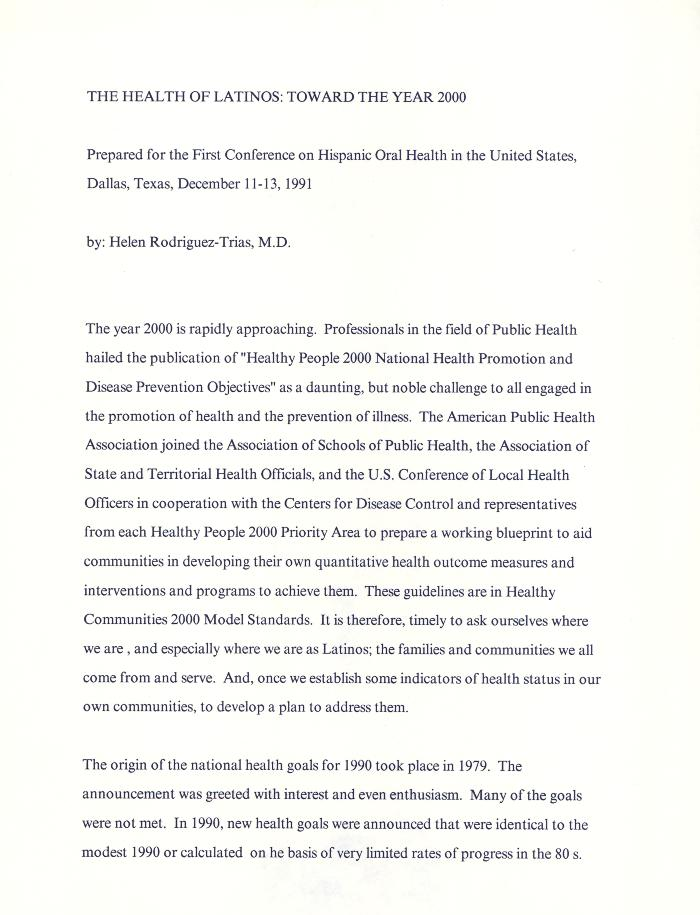 The Health of Latinos: Towards the Year 2000