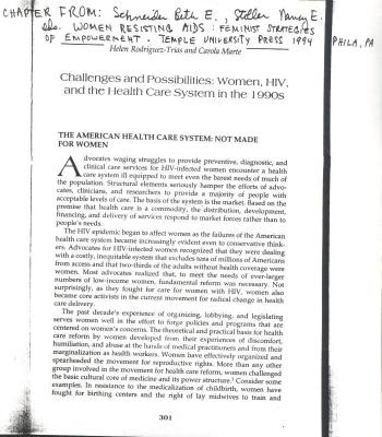 Challenges and Possibilities: Women, HIV, and the Health Care System in the 1990s