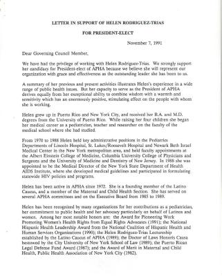 Letter in Support of Helen Rodríguez-Trías for President Elect